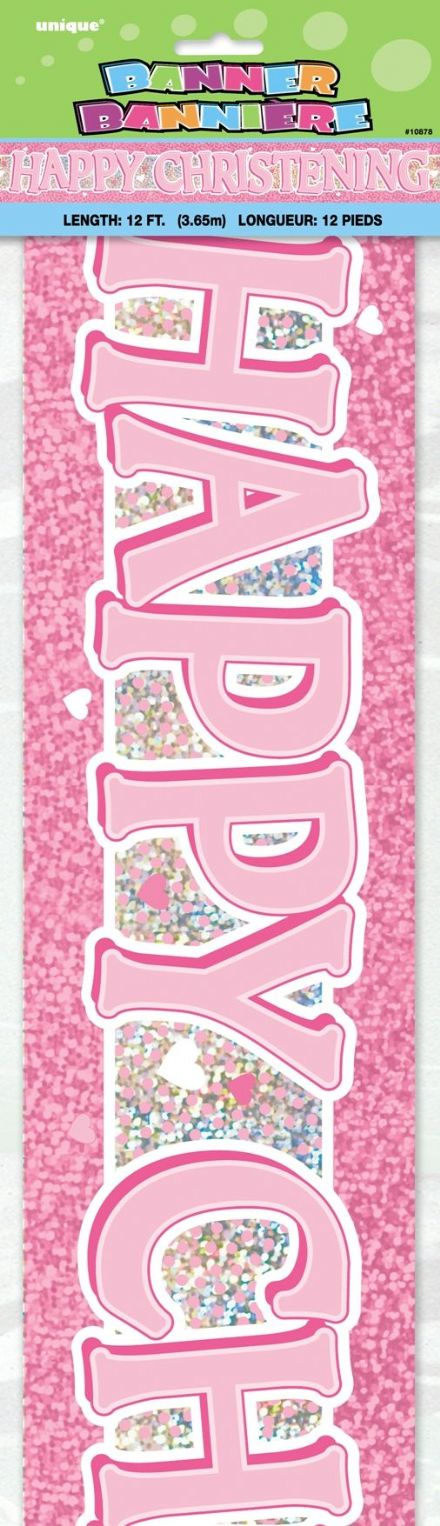 Happy Christening Day Pink Foil Banner
